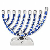 Blue Jeweled Mosaic Aluminum Menorah with Star