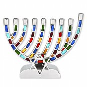 Multi Jeweled Mosaic Aluminum Menorah with Star