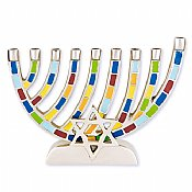 Mosaic Aluminum Menorah with Jewish Star