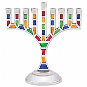 Multi Jeweled Mosaic Menorah