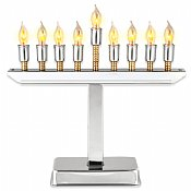 Highly Polished Chrome Plated Electric Menorah With Gold Accents
