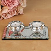 Crystal Tea Light Candlesticks on Mirrored Base