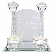 Shabbat Crystal Tea Light Candlesticks