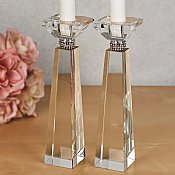 "Crystal Candlesticks with Diamond Adornment 8 1/4""H"
