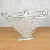 Contemporary Crystal Oil Menorah