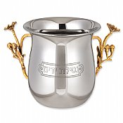 Nickel Plated Wash Cup With<br> Brass Flower Handles