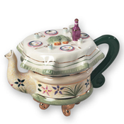 Collector's Shabbat Teapot in Green Motif