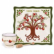 Tree of Life Honey Dish with Bowl and Dipper