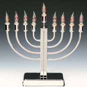 Classic Highly Polished Chrome Plated Electric Menorah with Flickering Bulbs