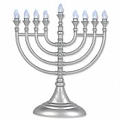 Silver Crystal-Flake L.E.D Battery Menorah with Crystals