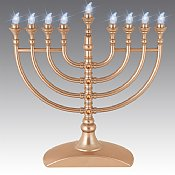 Matte Gold Crystal-Flake L.E.D Battery Menorah with Crystals