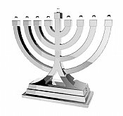 Small Battery Operated LED Menorah - Silver
