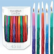 Deluxe Tapered Multi Tri Colored Frosted Hanukkah Candles