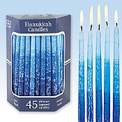 Deluxe Tapered Multi Blue Hued Frosted Hanukkah Candles
