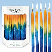 Deluxe Sunburst Tri Colored Hand Decorated Hanukkah Candles