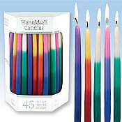Premium Tapered Multi Tri Colored Hand Decorated Hanukkah Candles