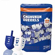 Blue & White Medium Wood Dreidels - 100 Pack