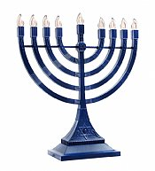LED Electronic Menorah - Battery or USB Powered - Blue