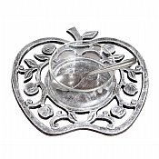 Antique Silver and Glass 4 Piece Honey Dish - Apples