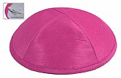 Raw Silk Imprinted Kippot - Hotpink