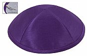 Raw Silk Imprinted Kippot - Medium Purple