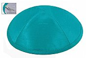 Raw Silk Imprinted Kippot - Turquoise